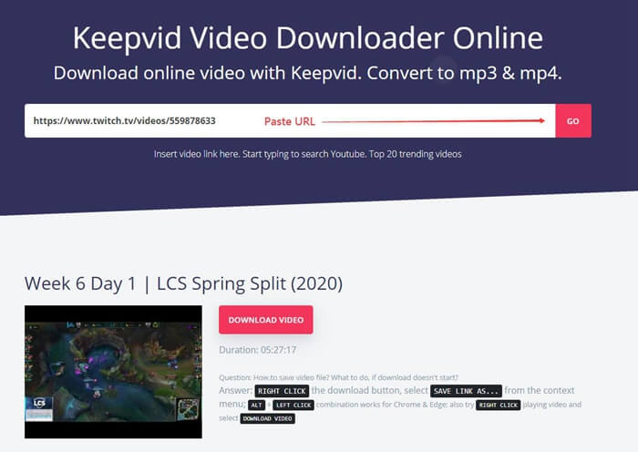 Download Twitch Video Keepvid