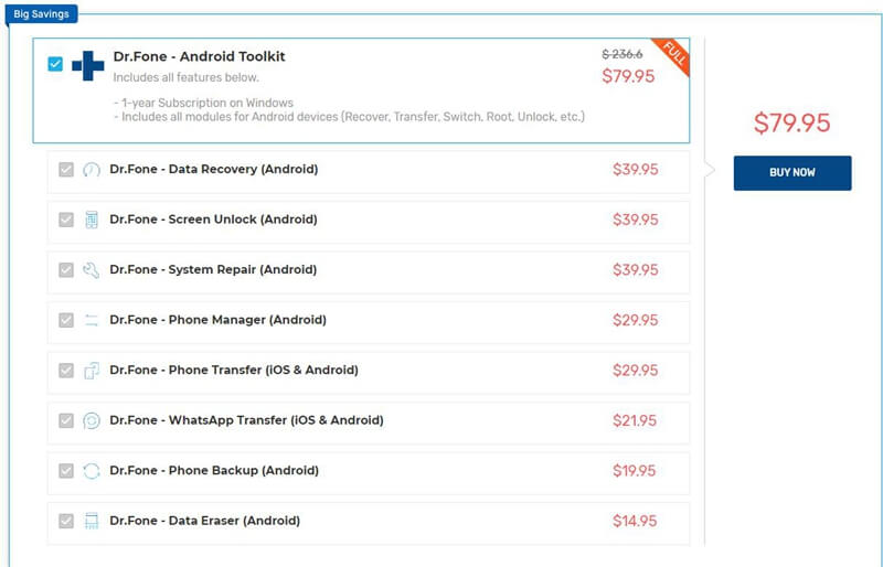 Dr.Fone - Android Toolkit Price