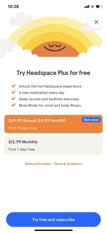 Headspace Plus cost
